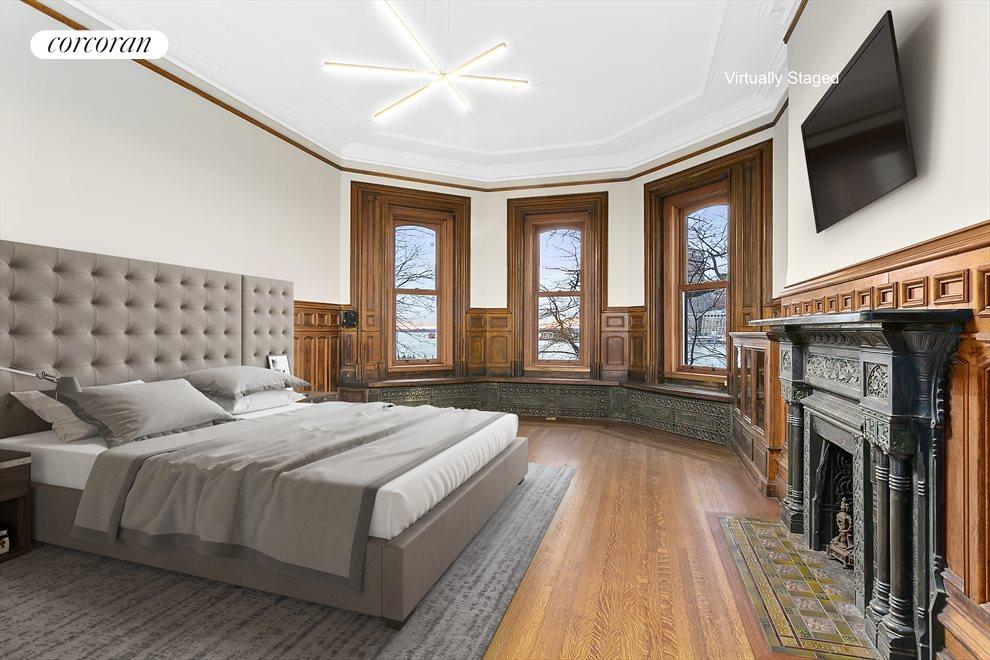 Dramatic master bed with full harbor & city views