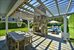 250 Mecox Rd, Dining pergola with fireplace