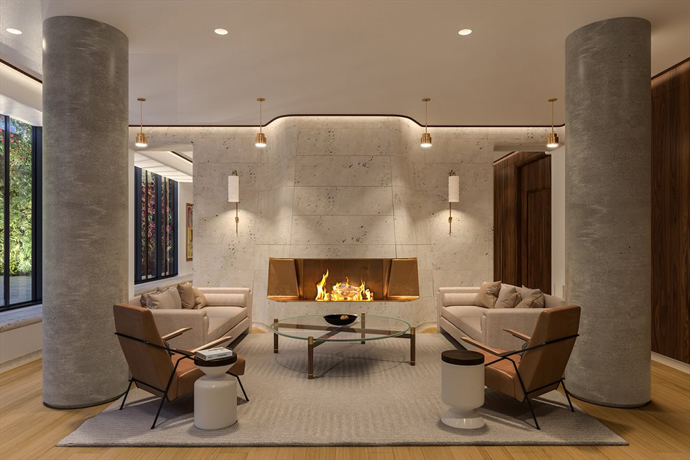 Greenwich West  | 110 CHARLTON ST | Resident's Lounge with Fireplace