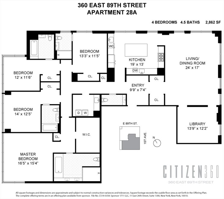 New York City Real Estate | View 360 East 89th Street, #28A | Floorplan