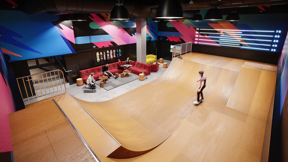 Waterline Square | 10 Riverside Blvd | Indoor Half-Pipe Skate Park