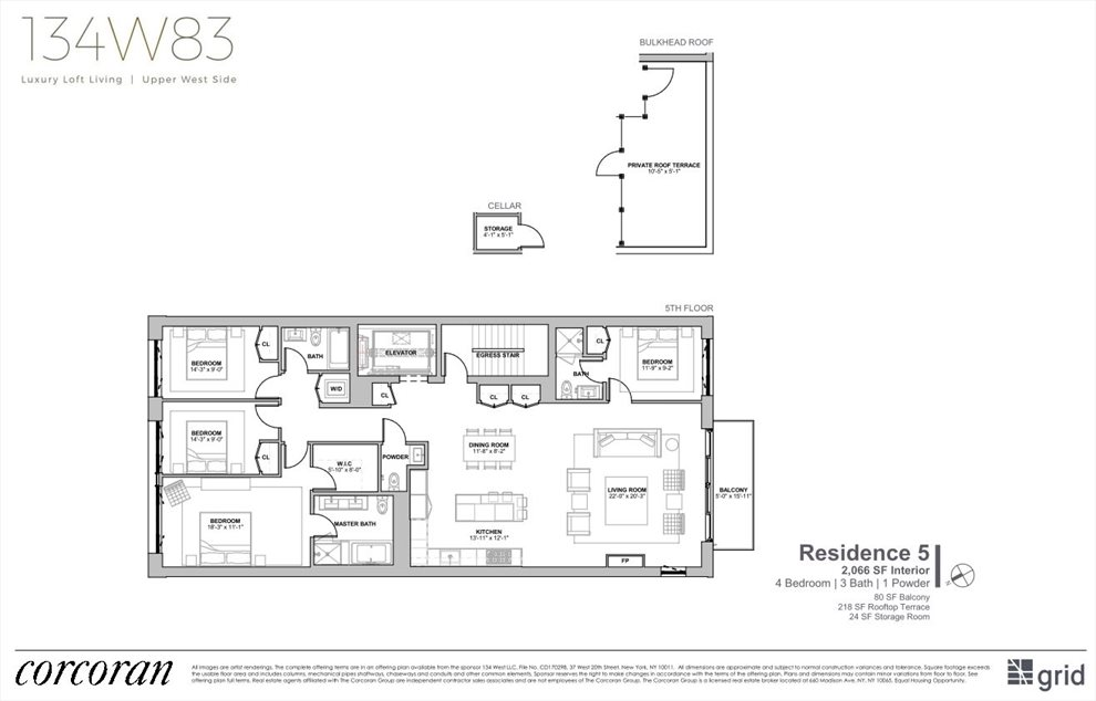 New York City Real Estate | View 134 West 83rd Street, #5 | Floorplan