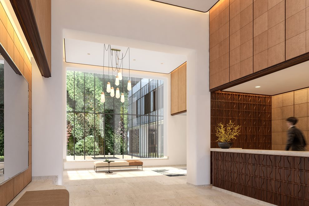 New York City Real Estate | View 110 CHARLTON ST, #26E | Double Height Lobby and Visual Garden