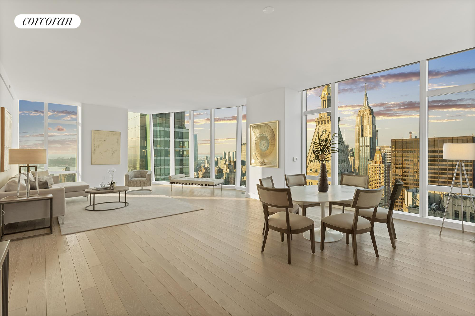 Be the first to live in this sprawling loft-like 3 bed, 3.5 bath with Penthouse-quality views of both uptown and downtown Manhattan.  Every major landmark can be seen from this 2505sqft, 51st floor aerie: Empire State, Chrysler Building, Freedom Tower, East River, Hudson River,and every major bridge can be delightfully observed from this quiet, luxurious residence. A 4th bedroom with North-facing views is easily added without compromising the floorplan.  Understated, yet sensationally conceived interiors by Martin Brudnizski Studios, 45 East 22nd perfectly embodies the pre-war elegance of the Flatiron neighborhood with modern 5-star amenities. There are over 10,000sqft of amenity spaces, such as a 3000sqft fitness center by the Wright Fit, basketball court, playroom, stroller parking, entertainment lounge, the crown jewel Upper Club, which is a 54th full floor club level with 360 degree views, entirely dedicated to residents to enjoy. With 24-hour doorman, live-in super, concierge by Luxury Attache, the building staff is entirely at your disposal with only 88 total residences.  Situated mid-block between Park and Broadway on 22nd Street, this classic Flatiron block embodies the neighborhood, only blocks from Madison Square Park, Eataly, and 5-star Michelin-rated Eleven Madison, one feels surrounded by Manhattan's greatest institutions.  Interior spaces comprise of a warm palate of light oak, wide-plank, floors, honed Bleu de Savoie slab marble countertops sourced from Italy,  Nanz hardware with custom-designed Molteni cabinetry.  The highest quality materials and appliances include solid white oak lower cabinetry with high gloss white lacquer upper cabinetry, Subzero and Miele appliances. With floor-to-ceiling windows and 10.5-foot ceilings, views are king in this home and celebrated from every room and bedroom.  The spacious Master Bedroom suite has with sweeping views south and west exposures,  a large dressing area and a 5-fixture bathroom with a picturesque wind