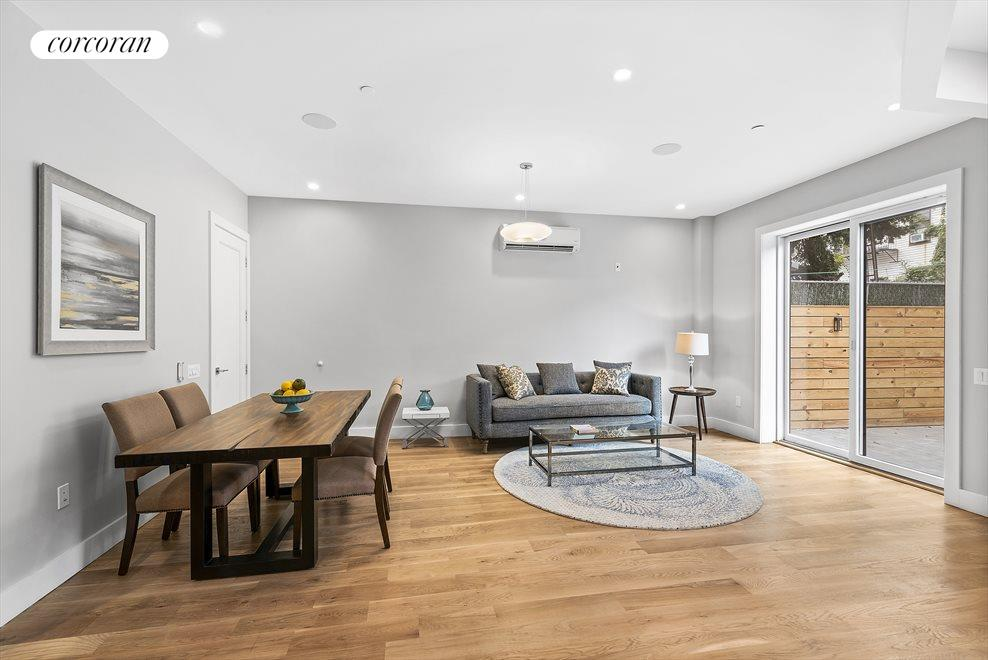New York City Real Estate | View 139 Grove Street, #1B | Extra large living/dining room!