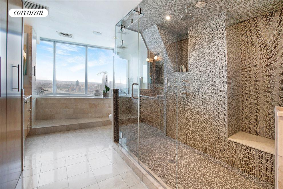 MASTER BATHROOM WITH DIRECT WESTERN RIVER VIEWS