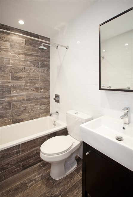 renovated bathroom with deep soaking tub
