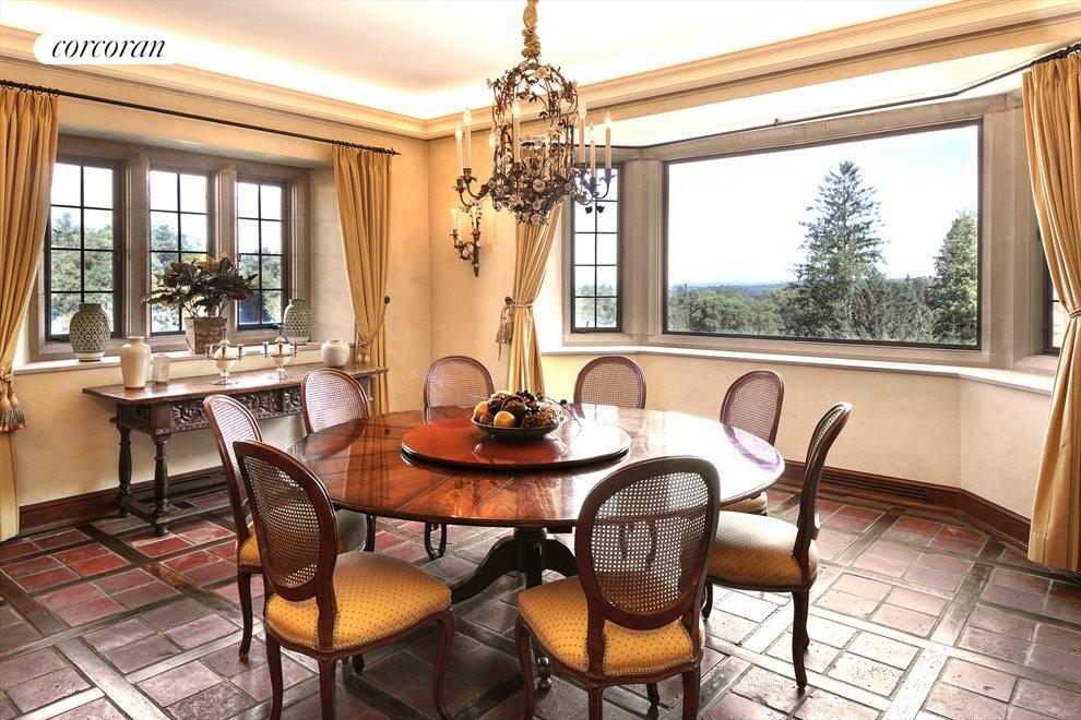 Breakfast Room with Fireplace and Views