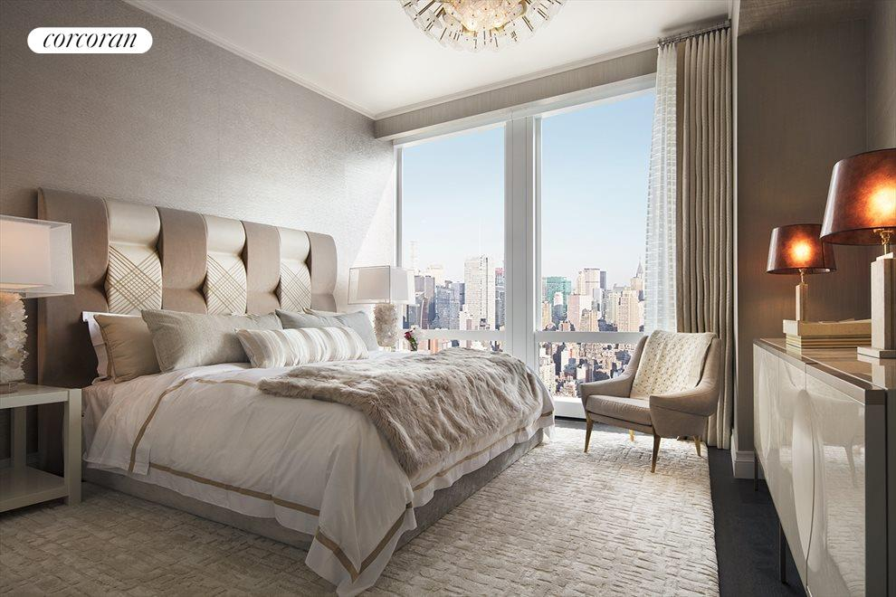 New York City Real Estate | View 35 HUDSON YARDS, #8603 | Bedroom with en-suite bathroom