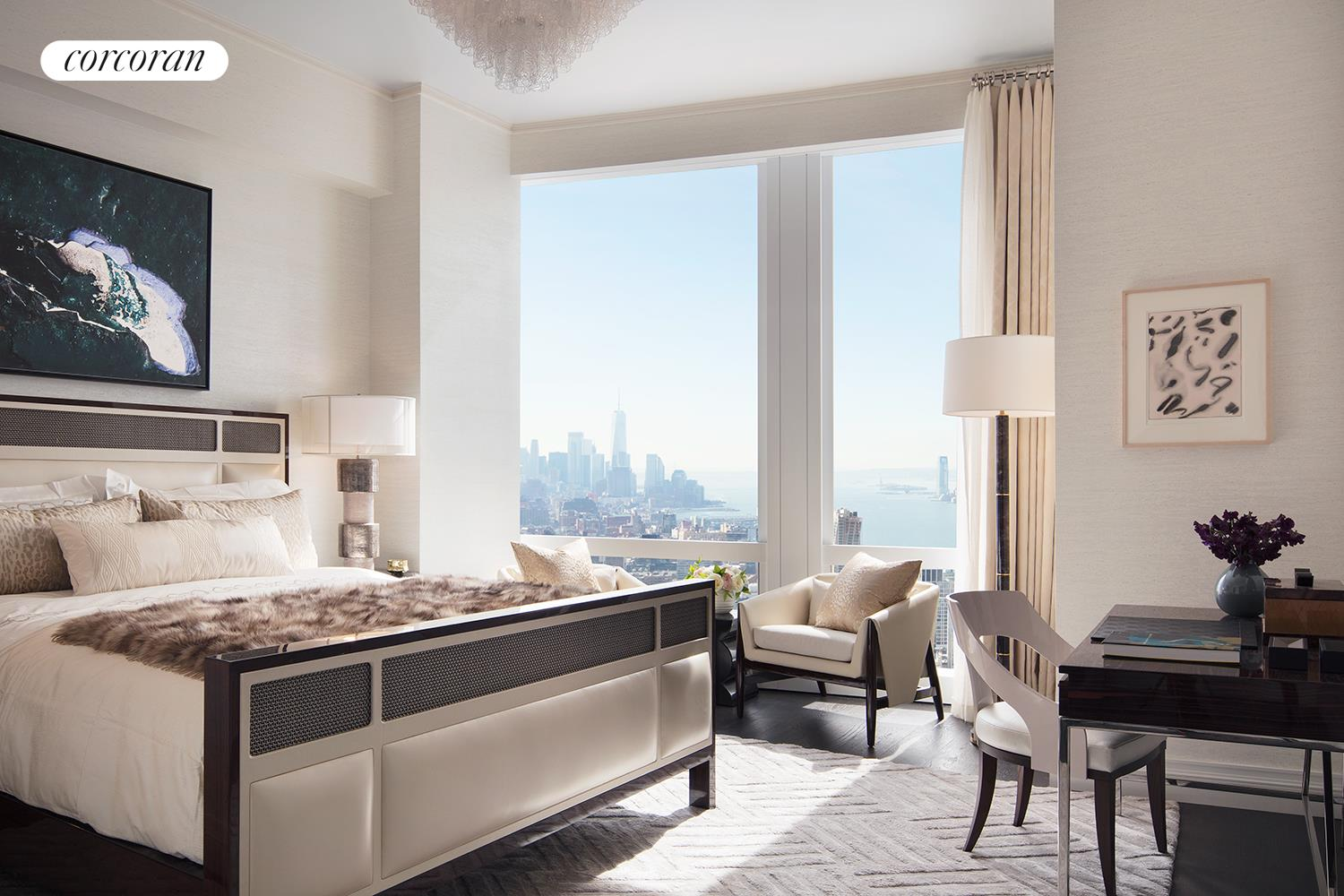 35 HUDSON YARDS, 5704, Great room with sweeping views of the Hudson river