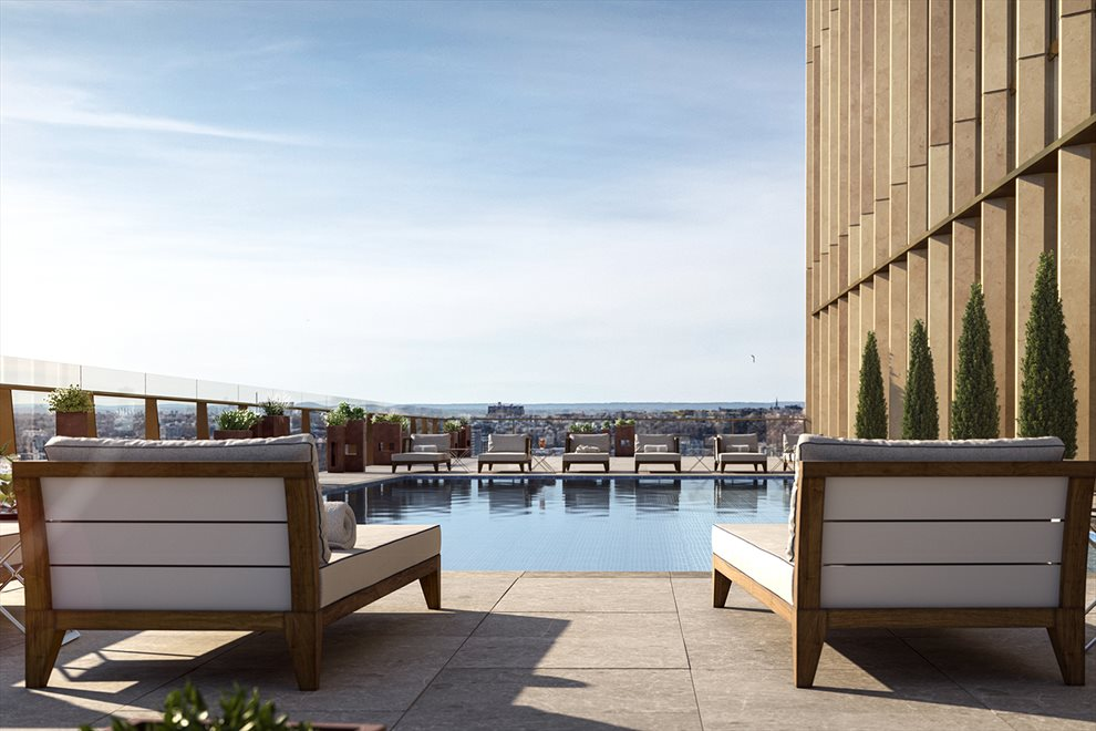 New York City Real Estate | View 35 HUDSON YARDS, #8603 | Outdoor swimming pool and deck