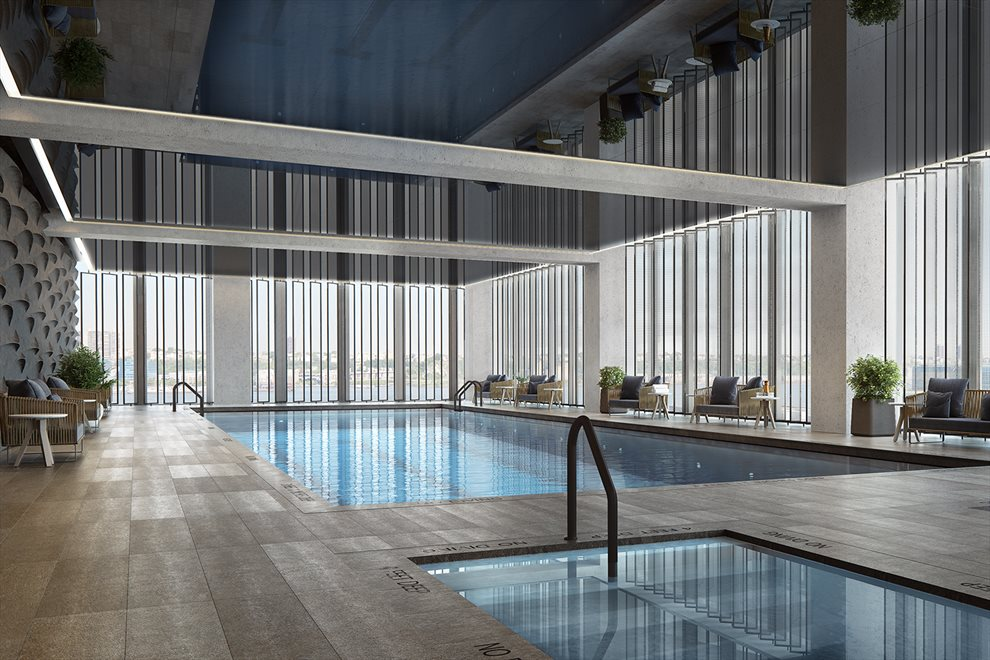 New York City Real Estate | View 35 HUDSON YARDS, #8603 | Indoor pools and deck