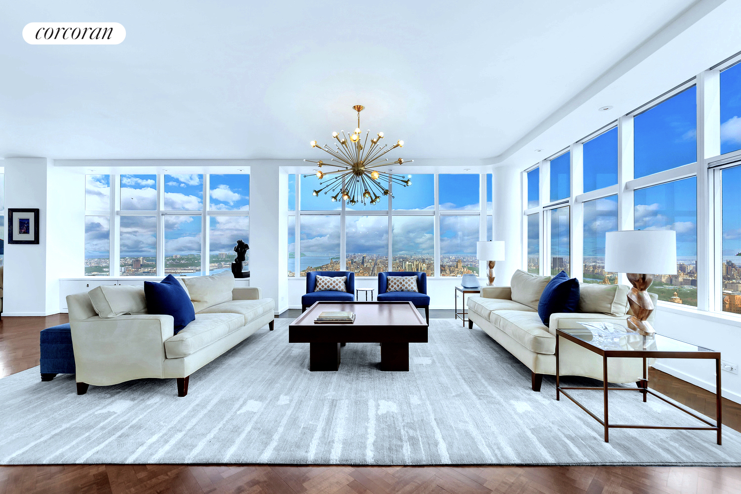 Best views in NYC. All the mystery and the beauty in the world are conveyed by sweeping panoramas of Central Park, a broad expense of Hudson River up to the GW Bridge, the iridescent 5th Avenue skyline and the glittering verticality of midtown Manhattan from an exquisitely designed 4 plus bedroom, 3600sf penthouse. Floor to ceiling windows comprise the north, east and west facades of this fabulous residence located in a premier white glove condominium adjacent to Lincoln Center and its abundance of cultural venues at the dynamic center of the Upper Westside. A generous gallery opens into 70 feet of knockout City and Park views encompassing a 38 foot living room and 20 foot dining room. An enchanting eat-in kitchen fabricated by Liecht with custom cabinetry, sourced stone countertops and top-of-the-line appliances overlooks Central Park. The enormous master bedroom, with a superb ensuite bath and dressing room, has broad aerial views up and down the Hudson River. A second master bedroom with dazzling Park and River vistas is now used as a home office. There are two additional bedrooms with sensational views and a total of 4 full baths. Amenities include central air conditioning, a separate laundry room and myriad walk in closets. One of Manhattan's finest condominiums, this full-service building provides 24-hour doorman and concierge service, a state of the art fitness center, a superb swimming pool, large events room with a fully equipped kitchen and direct access to Lincoln Center. After taking in a symphonic sunset from this enchanting space, you may secretly believe, like John Updike, that people living anywhere else have to be, in some sense, kidding.