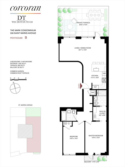 New York City Real Estate | View 336 St Marks Avenue, #PHB | Floorplan
