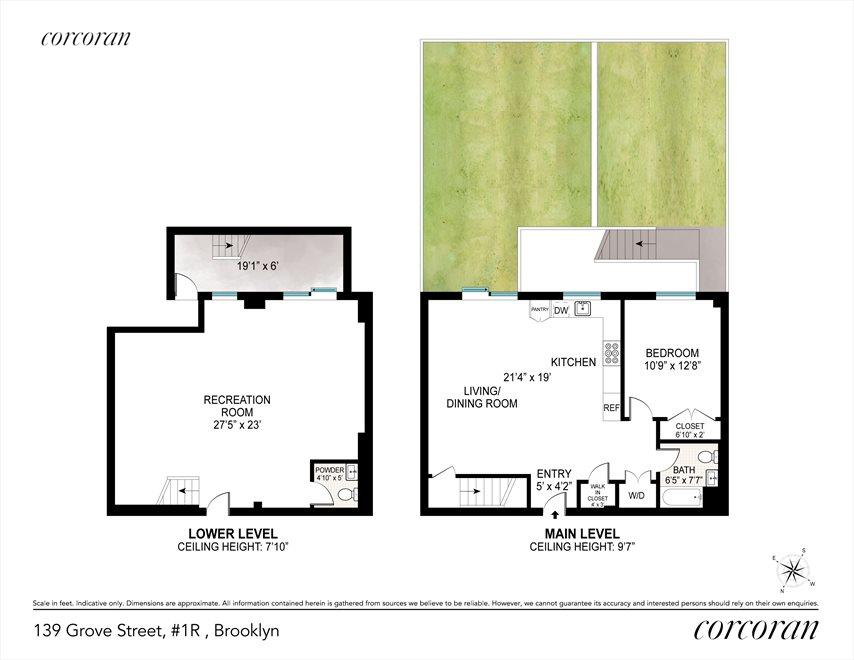 New York City Real Estate | View 139 Grove Street, #1B | Huge Duplex with 30 Wide Garden!