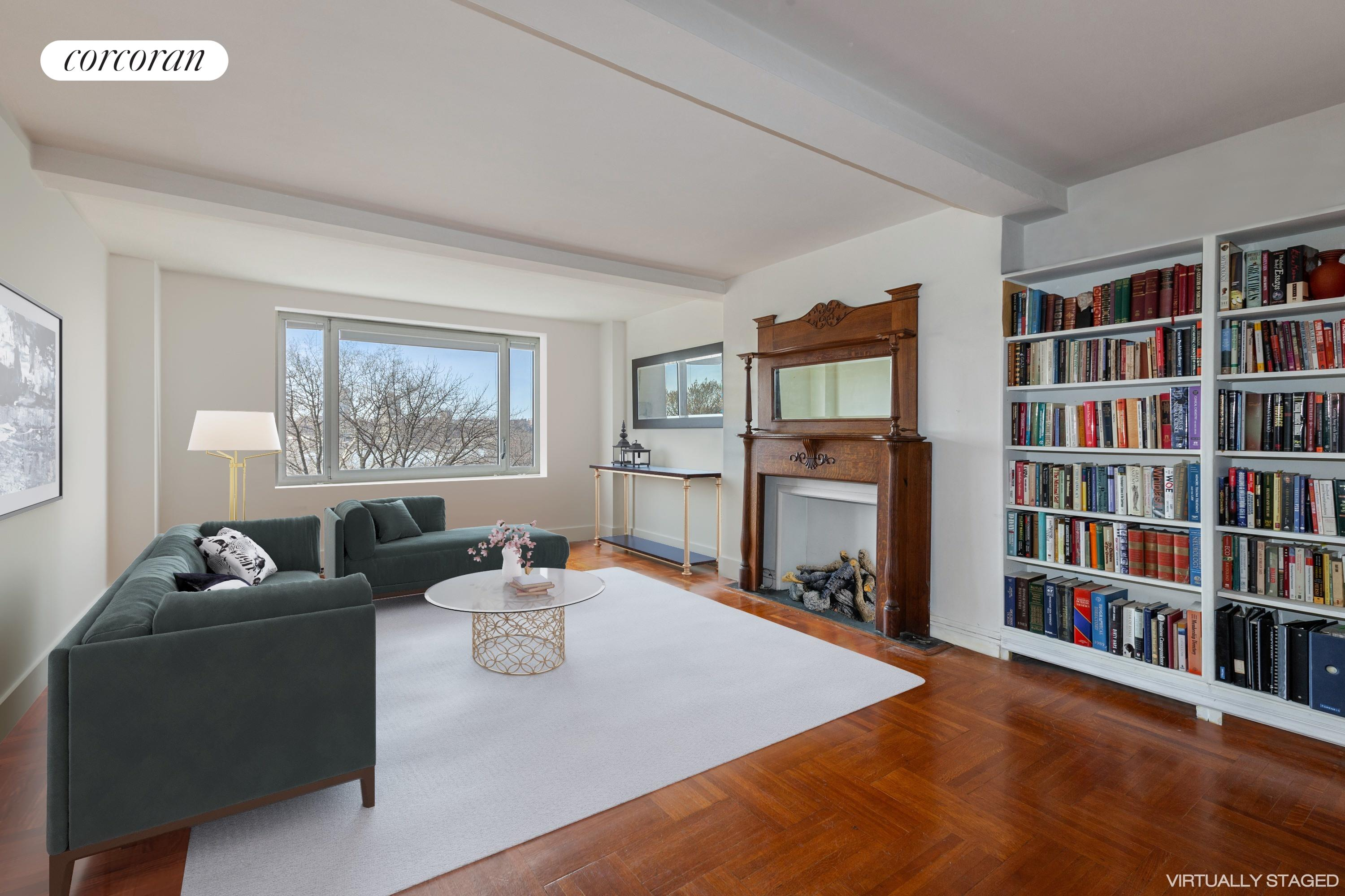 100 Riverside Drive, 7A, Living Room with Hudson River Facing Views