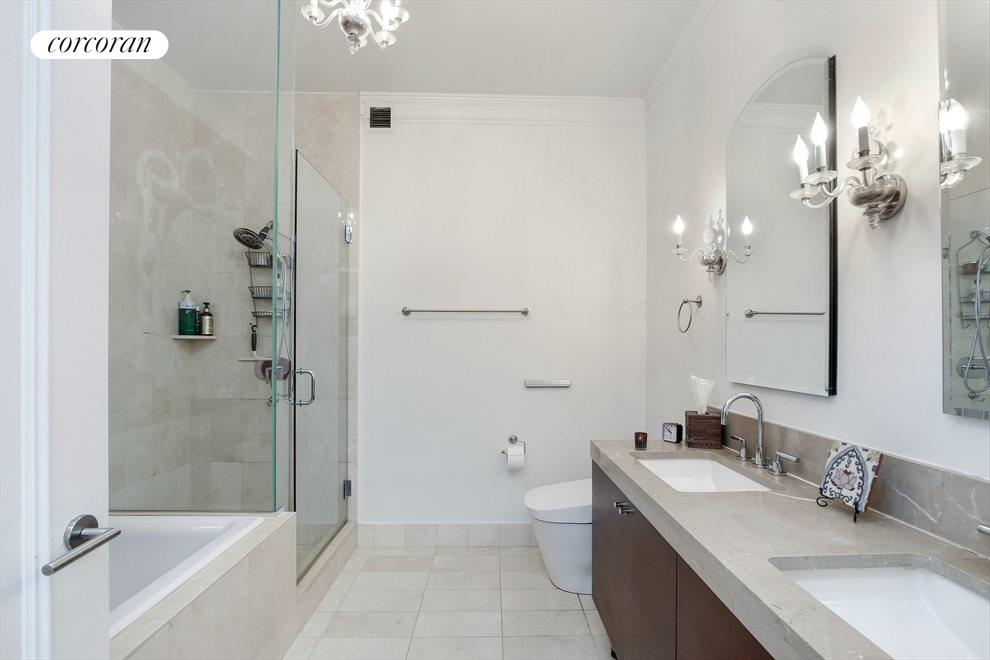 New York City Real Estate | View 30 West Street, #PH2G | Marble Master Bathroom