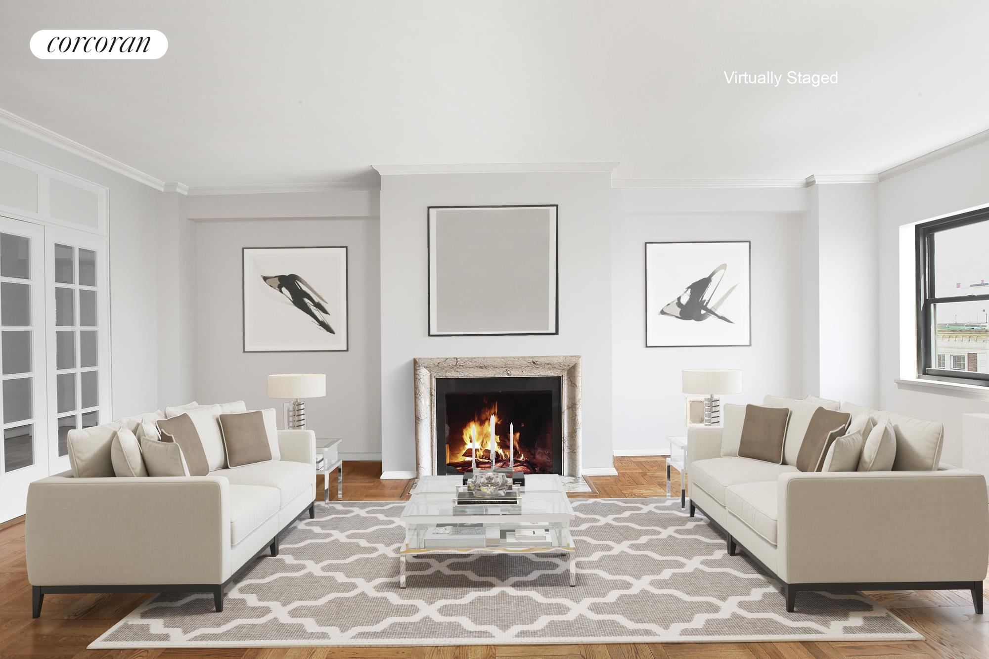 20 Sutton Place South, 19B, Grand Living Room with Wood-Burning Fire Place