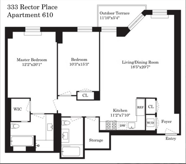 New York City Real Estate | View Rector Place | Floorplan 1