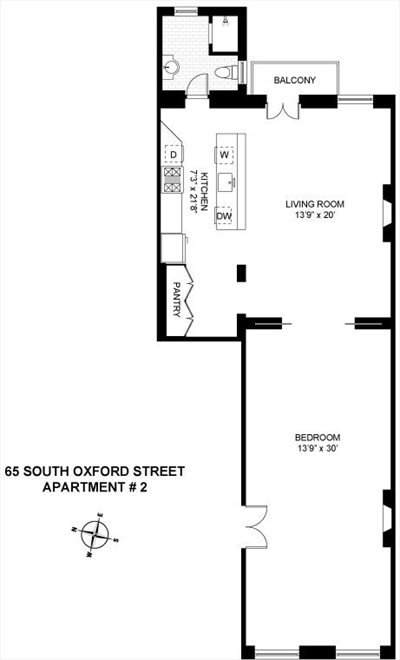New York City Real Estate | View 65 South Oxford Street, #2 | Floorplan
