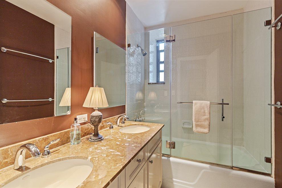 Double sinks & windowed Master Bath