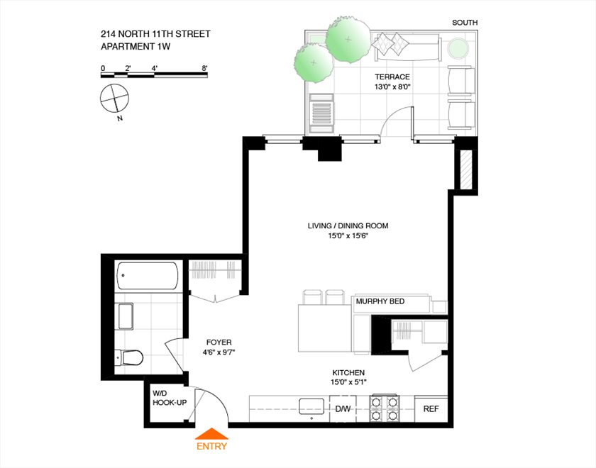 New York City Real Estate | View 214 North 11th Street, #1W | Floorplan