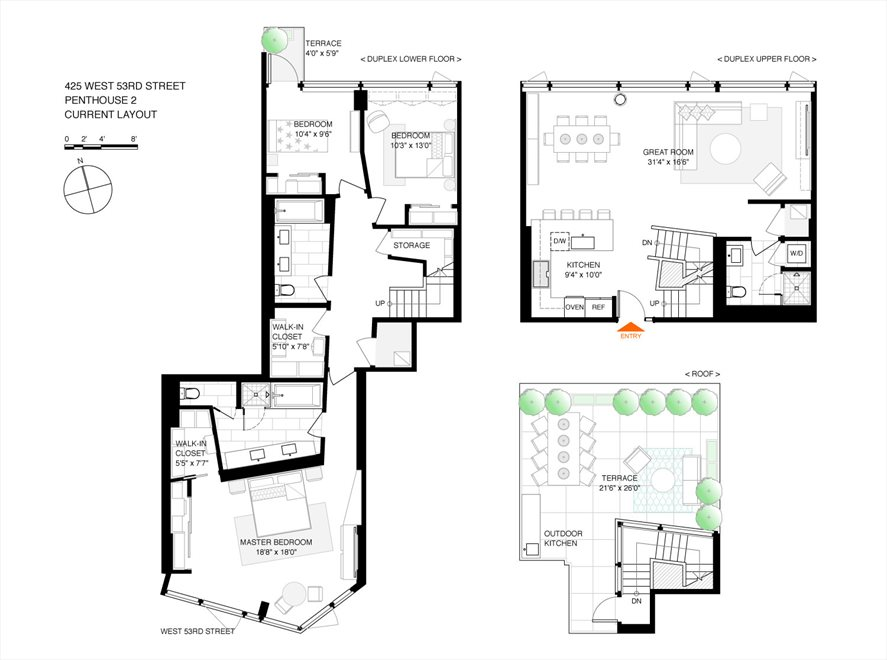 New York City Real Estate | View 425 West 53rd Street, #PH2 | Floorplan 1