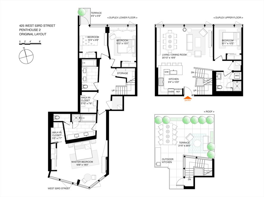 New York City Real Estate | View 425 West 53rd Street, #PH2 | Floorplan 2