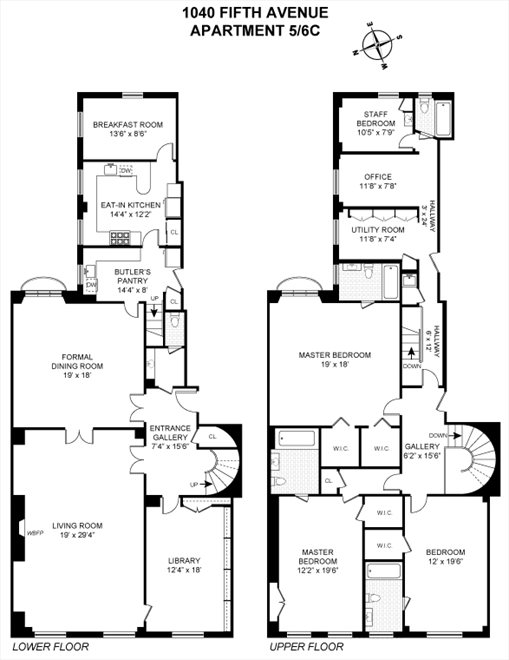 New York City Real Estate | View 1040 Fifth Avenue, #5/6C | Floorplan
