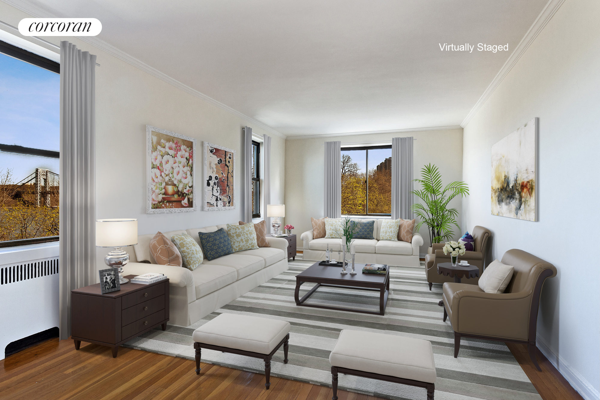 159-34 RIVERSIDE DRIVE WEST, 5A, Living Room Virtually Staged