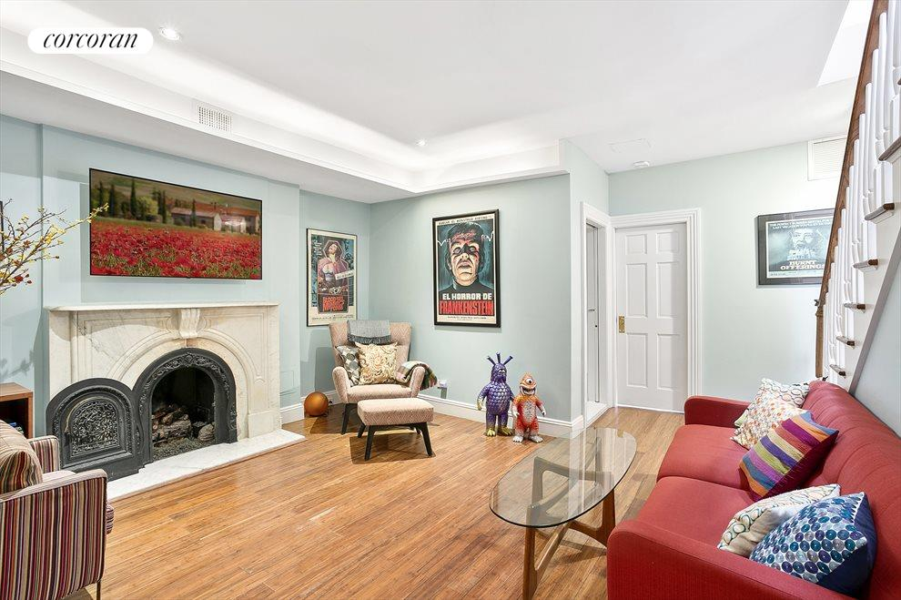 Living room upstairs with working fireplace