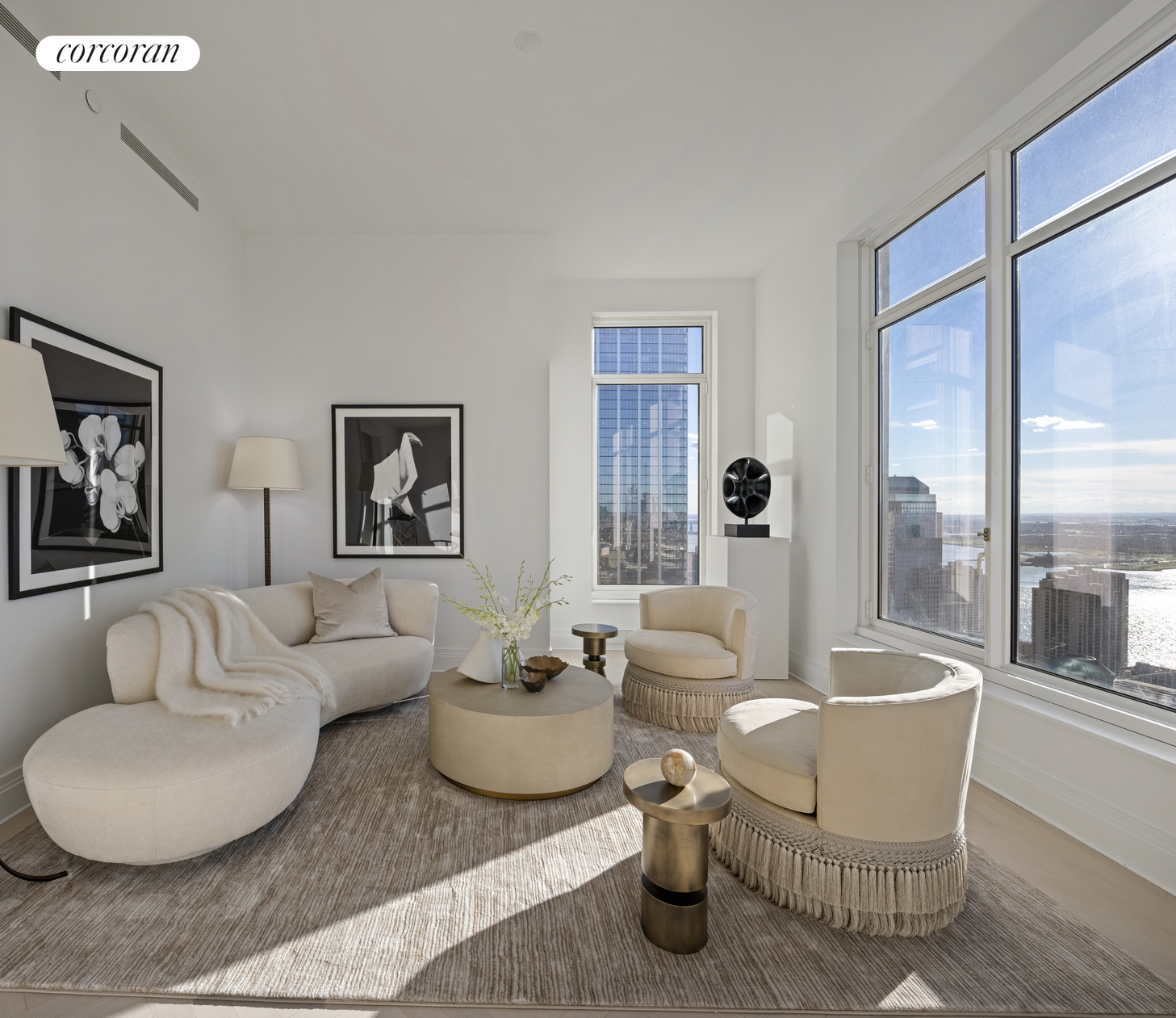 For immediate occupancy: Situated on the southwest corner, one can enjoy sunset views from this dual exposure home. The Master Bedroom Suite has total privacy within its own wing with a Walk-In Closet and 5-fixture bathroom. Welcome to 5-star living at 30 Park Place, Four Seasons Private Residences New York, Downtown.  Developed by visionary Silverstein Properties, Inc., masterfully designed by Robert A.M. Stern Architects, and serviced by legendary Four Seasons Hotels and Resorts.  With residences beginning on the 39th floor, the sweeping views are unparalleled.  Residents may enjoy access to Four Seasons Hotel amenities including a spa and salon facilities, 75' swimming pool, attended parking garage, restaurant, bar and lounge, ballroom facilities, and meeting rooms, as well as a comprehensive suite of a la carte services.  The 38th floor is devoted to private residential amenities including a fitness center and yoga studio, private dining room, conservatory and lounge with access to loggias, Roto-designed kid's playroom, and screening room.  Interior finishes include solid oak wood flooring with herringbone pattern in the formal rooms, Bilotta rift-cut oak kitchen cabinetry, Gaggenau appliances, and marble bathrooms with Robert A.M. Stern custom-designed vanities. Systems feature ceiling hung four-pipe fan coil heating and air conditioning system with dedicated zones and pre-wiring for home automation.The complete terms are in an offering plan available from the Sponsor (File No: CD 13-0258).