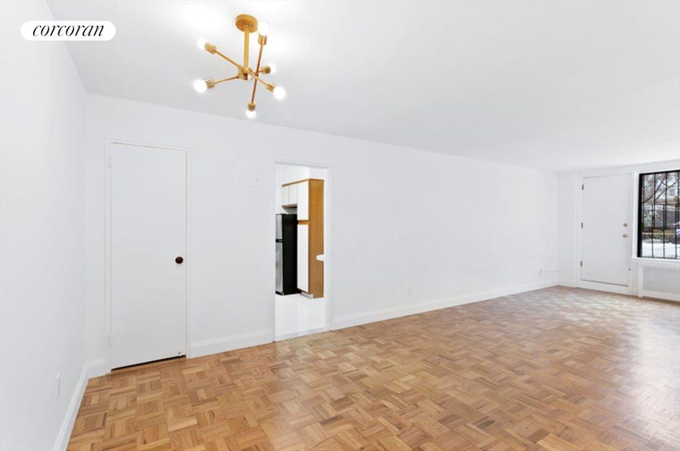 New York City Real Estate | View 415 Beverley Road, #1G | Living/Dining Area with access to Private Outdoor