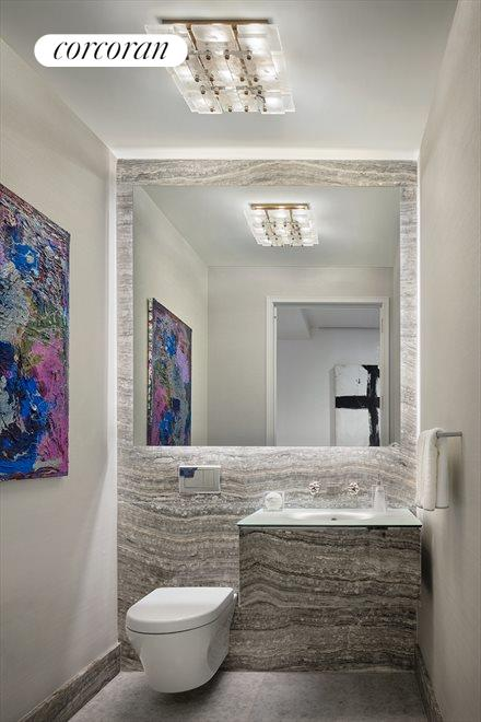 New York City Real Estate | View 35 HUDSON YARDS, #8603 | Onyx-clad powder room