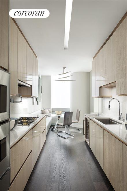 New York City Real Estate | View 35 HUDSON YARDS, #8603 | Windowed kitchen by Smallbone of Devizes