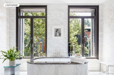 New York City Real Estate | View 141 West 11th Street | Marble master bath with radiant heated floor