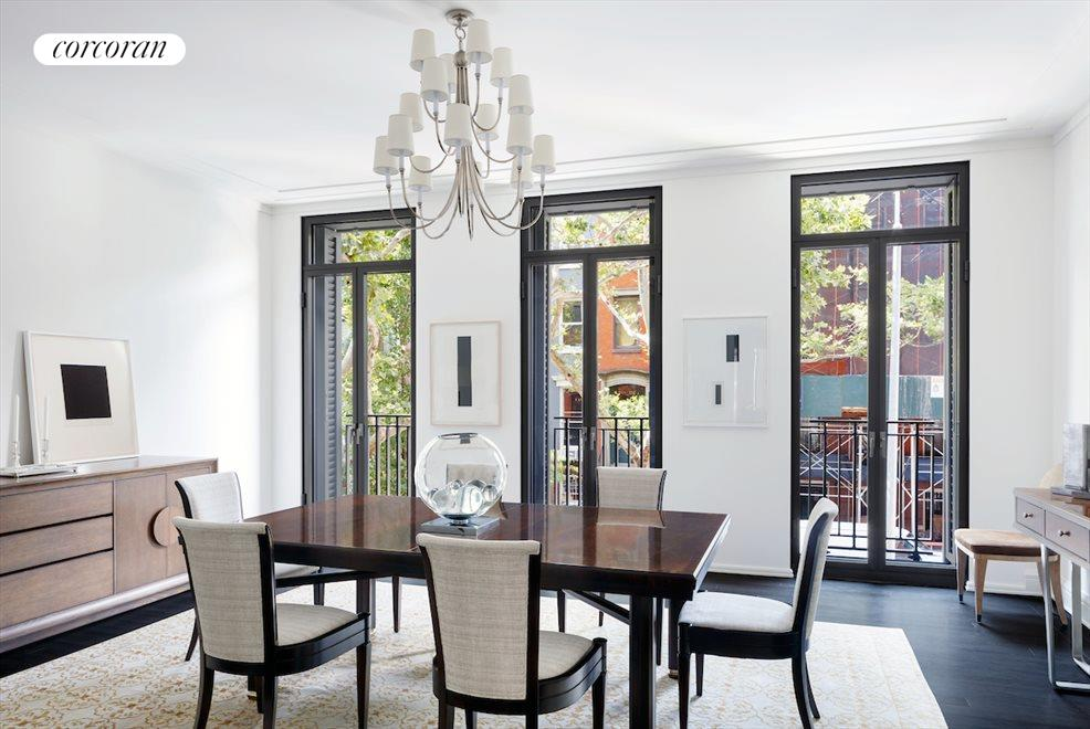 Formal dining room with Juliette balconies