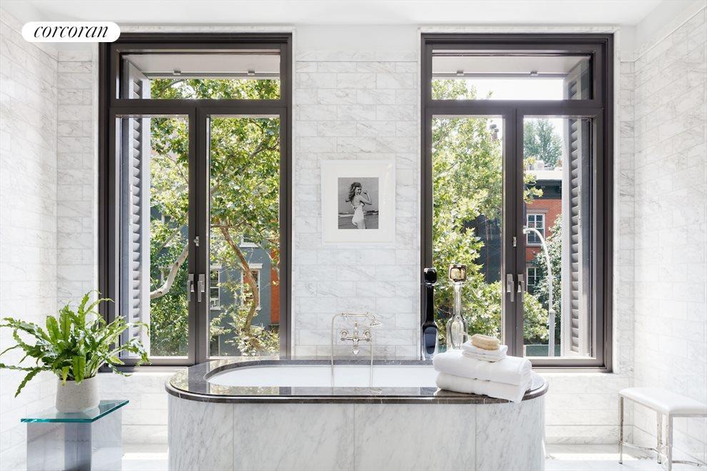 Marble master bath with radiant heated floor