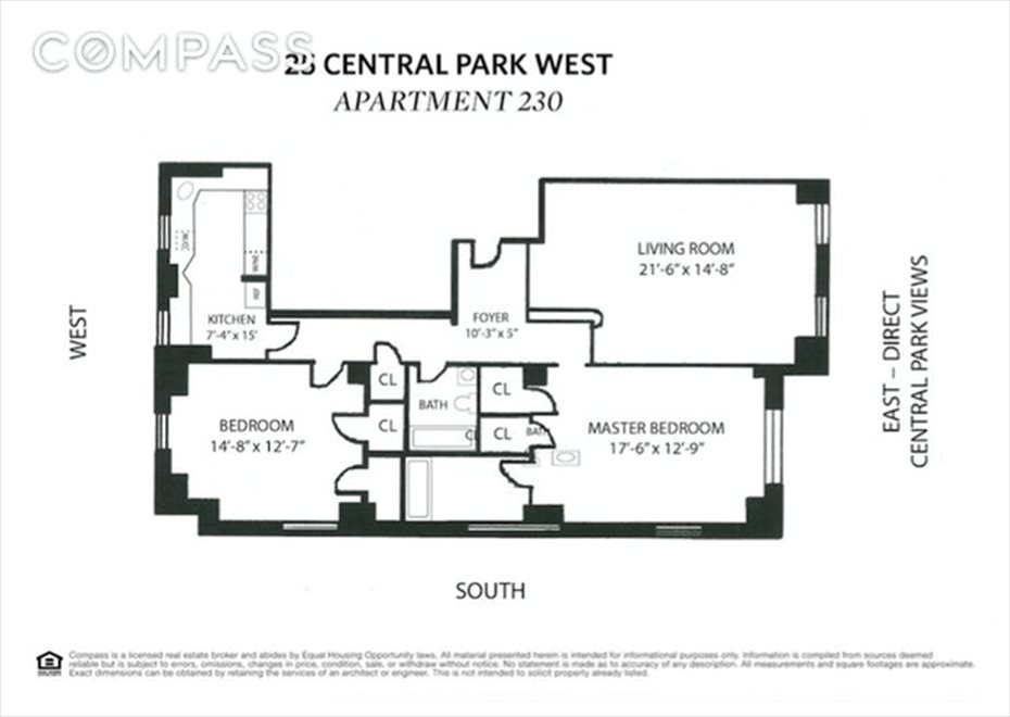 New York City Real Estate | View Central Park West | Floorplan 1