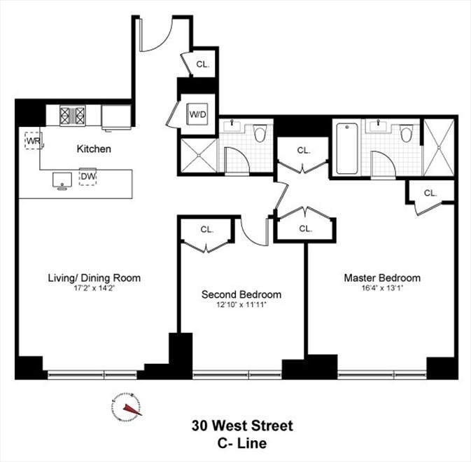 New York City Real Estate | View 30 West Street, #22C | Floorplan
