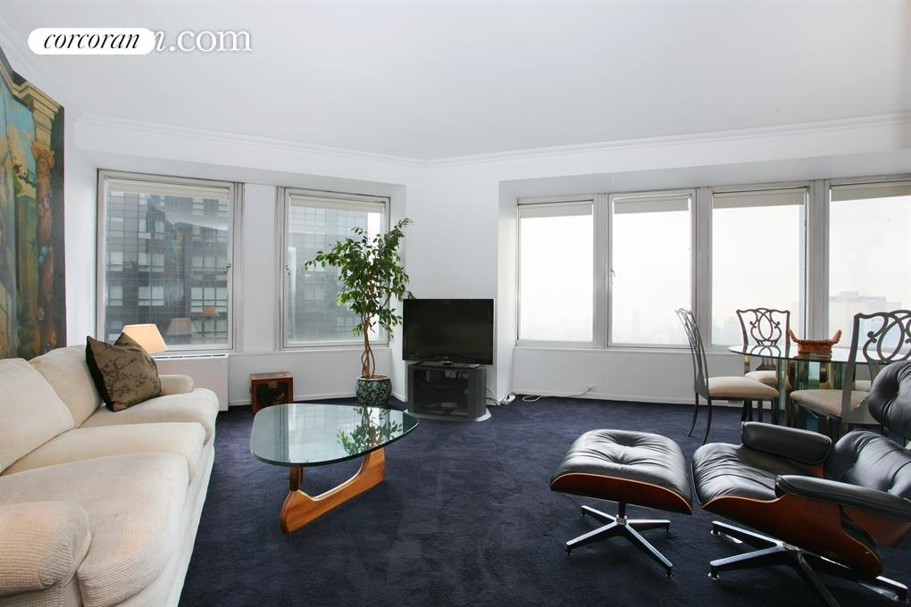 HIGH FLOOR FULLY FURNISHED CITYSPIRE CONDO WITH INCREDIBLE PANORAMIC VIEWS! Available for Immediate Rental and Corporate Rentals Welcome.  Two winged Bedrooms each with its own full  Marble Bath. Laundry is adjacent to the apartment and the Building also has a pool and gym available at no extra cost. Enjoy everything NYC has to offer.   Cental Park , Carnegie Hall, Lincoln Center and great Shopping at The Time Warner Center located at Columbus Circle which includes Whole Foods. Call or email for Appointments.