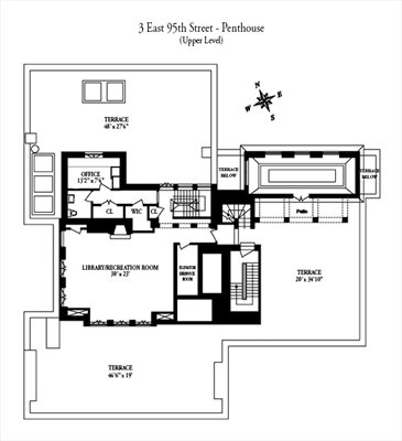 New York City Real Estate | View 3 East 95th Street, #PENTHOUSE | Floorplan 2