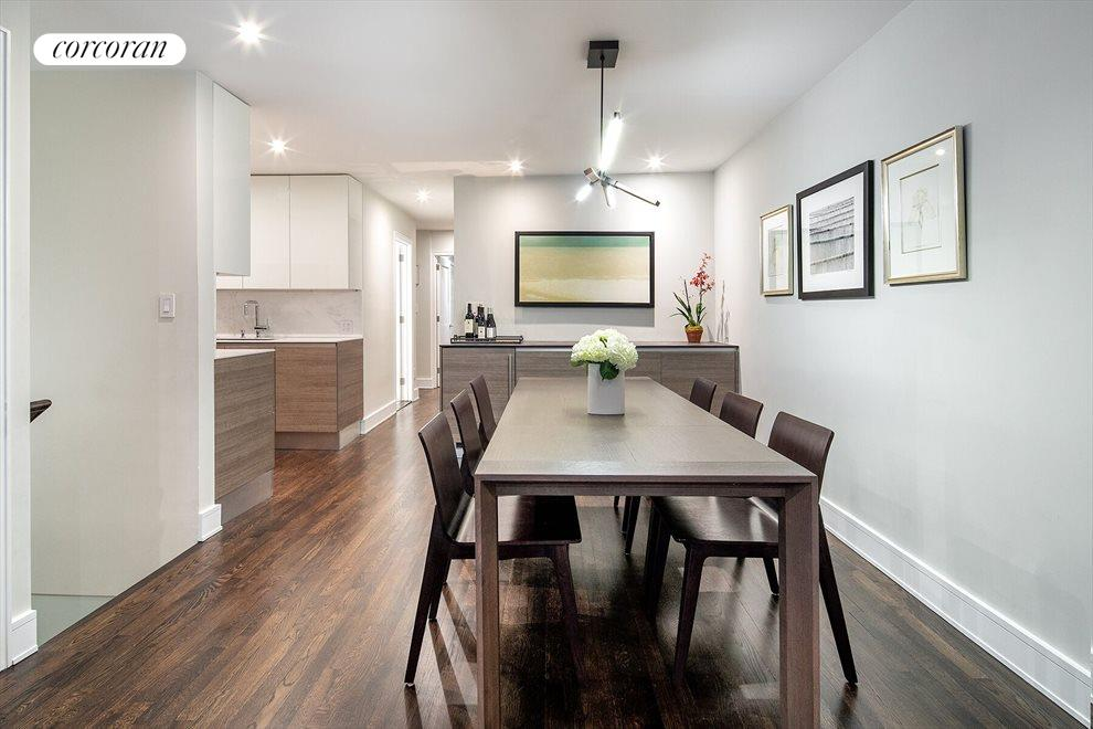 Dining area with built-in buffet and wine fridge