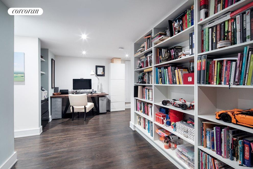 Office area with built-in bookshelves