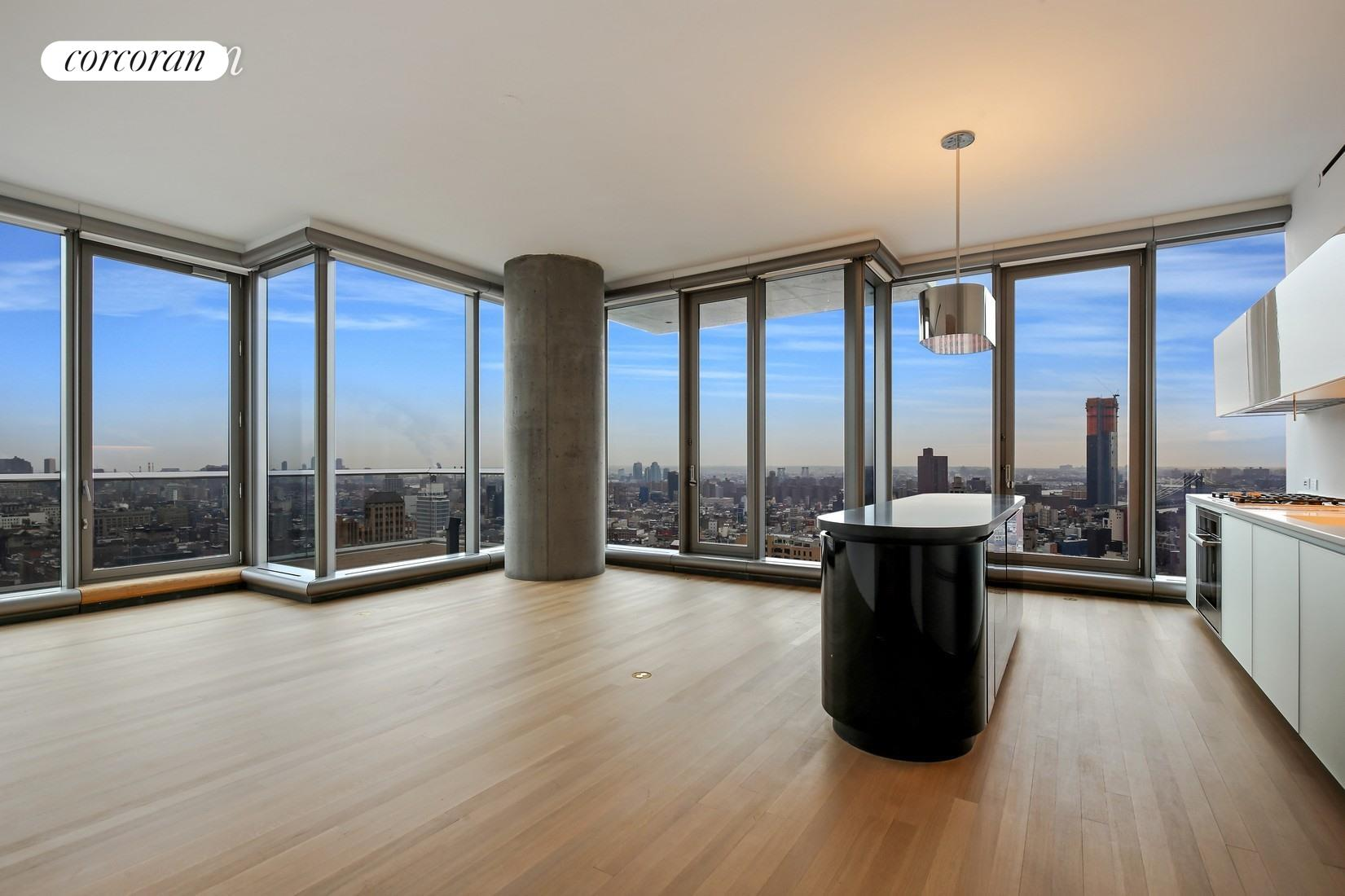This stunning, generously-sized three bedroom, three and one half bathroom apartment with spectacular views from every window, and a 24  8 foot balcony is available for rent at the iconic 56 Leonard! There are stunning open city, river, and bridge views from floor to ceiling windows, and the North and Eastern exposures are equally beautiful both day and night. The open kitchen is well-designed, with an expandable breakfast bar, white Corian counters, glossy white cabinets, and top of the line appliances including a Sub-Zero refrigerator, and Miele oven and dishwasher. There are soaring 11' ceilings, solid white oak hard wood floors, oversized rooms, a Miele washer/dryer, seven custom fitted closets, and a large dressing room. The spectacular en-suite windowed master bath has stunning elements of glass, mirrors, travertine, marble, and radiant heated floors, and the powder room is very chic! The windows have all been fitted with shades. There is a 4-pipe heating and cooling system for year-round multi-zone climate control. 421A Tax Abatement. One of the most exciting and fascinating new condominiums in Manhattan, 56 Leonard was designed by architects Herzog & de Meuron, and reflects a unique design. There are 145 unique residences, all with outdoor space, abundant light and breathtaking views of the cityscape, rivers, bridges and beyond. This full service building has a live-in super, doorman, and concierge, and 17,000 square feet of amenities, including a 75' lap pool with a sundeck, a state of the art gym, a screening room, a lounge, a dining room and a playroom as well as an on-site parking garage.
