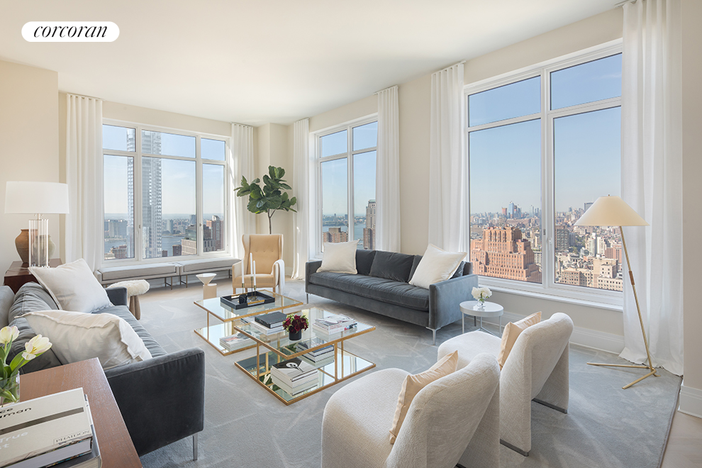 Ideally positioned with spectacular views west toward the Hudson River and north towards the Midtown skyline, this gracious residence features a corner Living/Dining Room and corner Master Bedroom Suite.  An Eat-In Kitchen overlooks a separate Family Room featuring a bay window.  Welcome to 5-star living at 30 Park Place, Four Seasons Private Residences New York, Downtown.  Developed by visionary Silverstein Properties, Inc., masterfully designed by Robert A.M. Stern Architects, and serviced by legendary Four Seasons Hotels and Resorts.  With residences beginning on the 39th floor, the sweeping views are unparalleled.  Residents may enjoy access to Four Seasons Hotel amenities including a spa and salon facilities, 75' swimming pool, attended parking garage, restaurant, bar and lounge, ballroom facilities, and meeting rooms, as well as a comprehensive suite of a la carte services.  The 38th floor is devoted to private residential amenities including a fitness center and yoga studio, private dining room, conservatory and lounge with access to loggias, Roto-designed kid's playroom, and screening room.  Interior finishes include solid oak wood flooring with herringbone pattern in the formal rooms, Bilotta rift-cut oak kitchen cabinetry, Gaggenau appliances, and marble bathrooms with Robert A.M. Stern custom-designed vanities.  Systems feature ceiling hung four-pipe fan coil heating and air conditioning system with dedicated zones and pre-wiring for home automation.The complete terms are in an offering plan available from the Sponsor (File No: CD 13-0258).