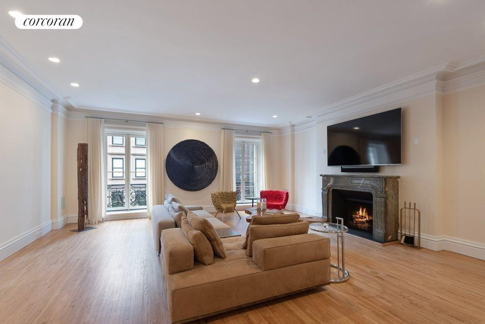 Grand Living Room with Wood Burning Fireplace
