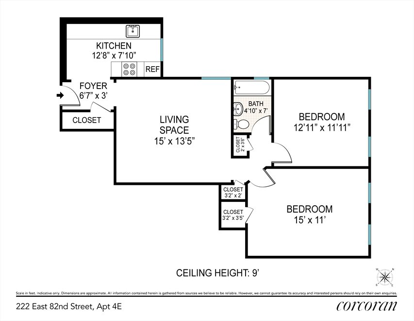 New York City Real Estate | View 222 East 82nd Street, #4E | Floorplan