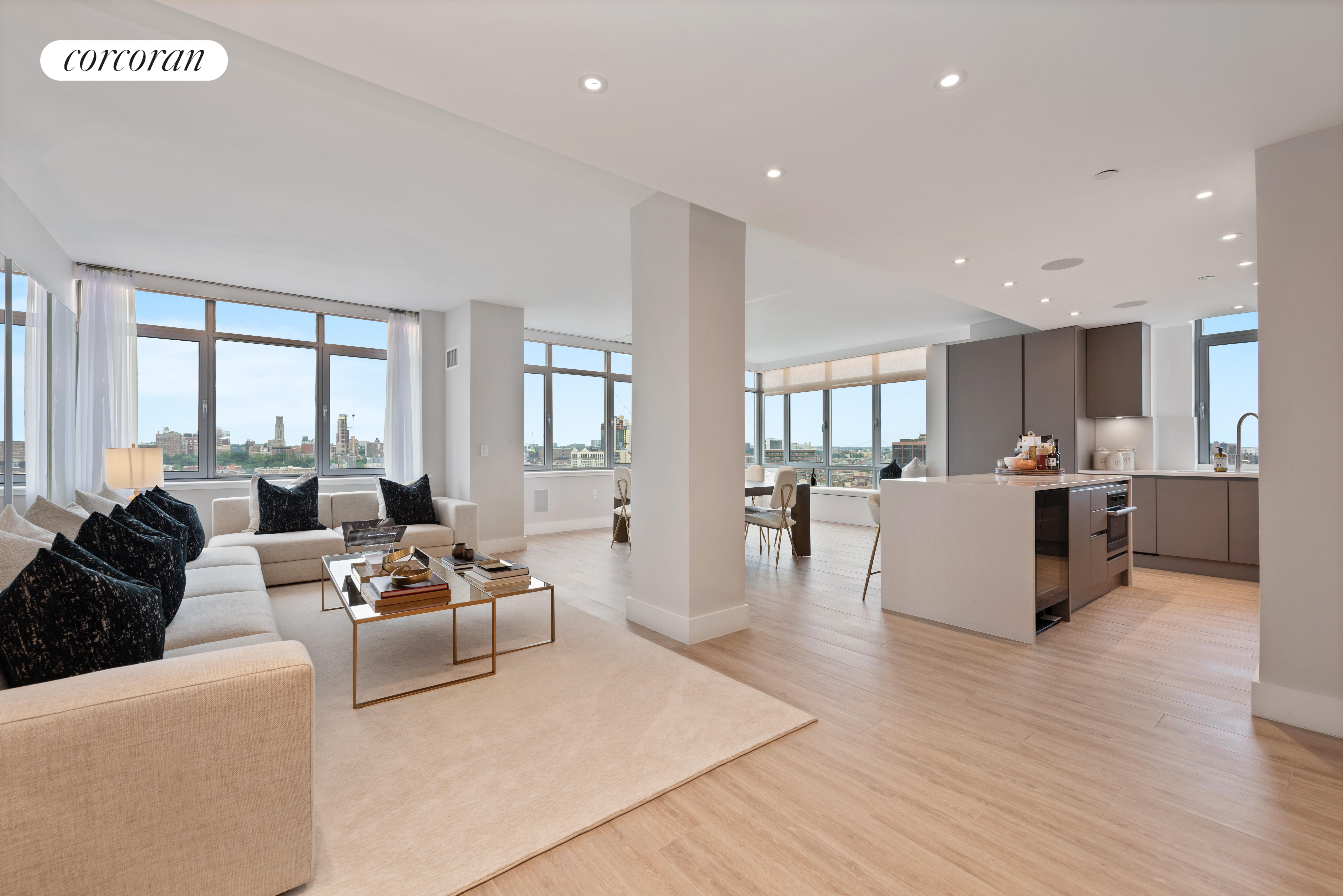Welcome to this truly unique 5 bedroom luxury residence on Fifth Ave with beautiful Park Views in the most magnificent condominium in East Harlem. This home is totally gut renovated with utmost attention to details, highest quality materials and never lived-in. All rooms in the apartment have unobstructed views of Marcus Garvey Park. Upon entering, you are amazed by an elegant and expansive corner great room with three sections, large living room, 12 seat dining room, and a corner sitting area allowing you to enjoy the most splendid sunset. The modern windowed chefs kitchen is equipped with miele appliances, separate refrigerator and freezer, wine cooler, large stove, convection oven, wide sink, quartzite center-island and counter tops, glass-paneled cabinetry and a generous pantry. The master suite boasts a spacious bedroom with sitting area, an oversized walk-in closet and a spa-like master bath with his and her vanities and a soaking tub. There are 4 additional large bedrooms and 3 more full bathrooms. All bathroom walls comprise of elegant porcelain slabs, cabinets designed by Robern, and faucets by Fantini.  The entire apartment has high ceiling, oversized windows, wood porcelain floors and spacious custom closets. Washer/dryer in apartment.This Smart Home automated by Creston, allows remote controlling of temperature, lighting, sound system, and electric shades from your phone or tablet. Fifth On The Park Condominium enjoys a tax abatement until 2029; the owner pays only $25 tax per month for the next 10 years.The building amenities include 24 hour doorman and concierge, live-in building manager, valet parking, state of the art fitness center, 55 foot indoor heated lap pool with adjacent sundeck, resident lounge with wi-fi, catering kitchen, furnished outdoor space with gas grills, and kids playroom.Very close to 4, 5, 6 trains, the best shopping and dining, museums and only a short 8 minute walk to Central Park.