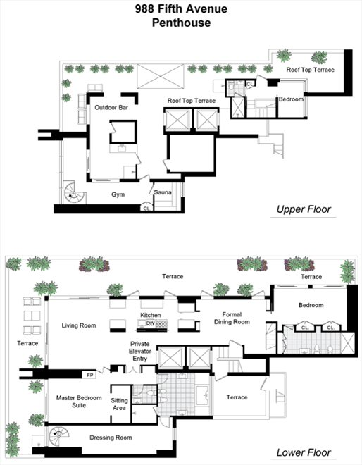 New York City Real Estate | View 988 Fifth Avenue, #PENTHOUSE | Floorplan